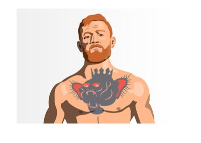 Conor McGregor in his trademark pose.  Illustration.