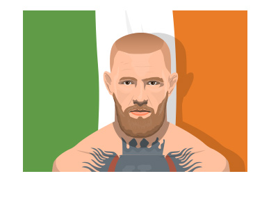 The illustration of the legendary Irish fighter - Conor McGregor - Ireland flag in the background.