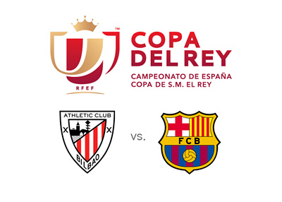 Copa del Rey Final 2015 - Athletic Bilbao vs. Barcelona FC - Tournament logo and team crests