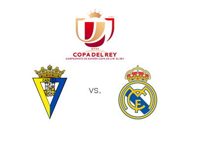 Cadiz vs. Real Madrid - Spanish Copa del Rey matchup - Team badges and tournament logo