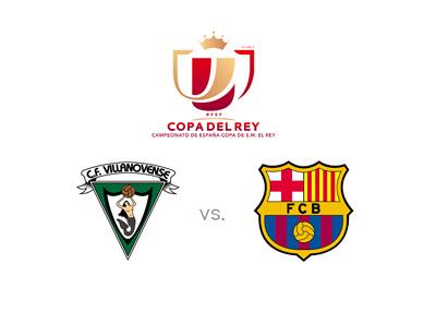 Spanish Copa del Rey matchup - Villanovense vs. Barcelona FC - Tournament logo and team crests