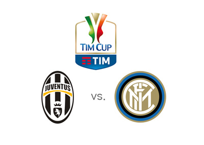 Coppa Italia match between Juventus and Inter - Game odds and preview - Tournament logo and team crests