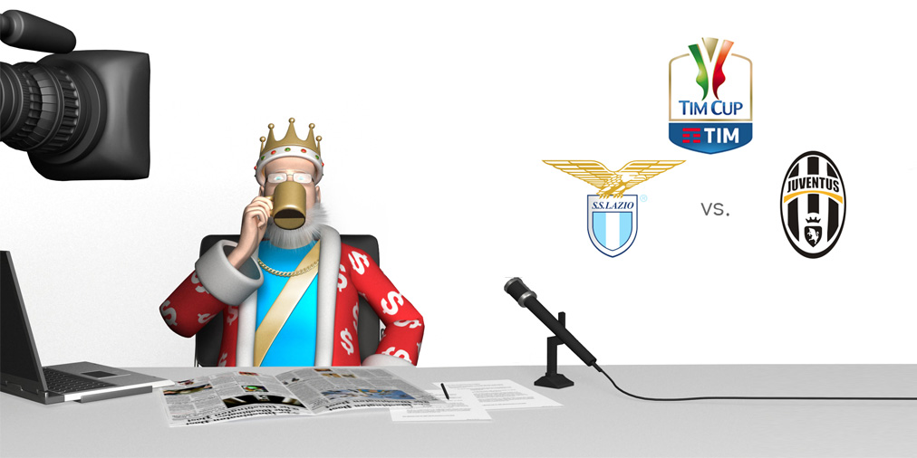 From his TV studio, the King is going over the upcoming Coppa Italia (Italian Cup) match between Lazio and Juventus