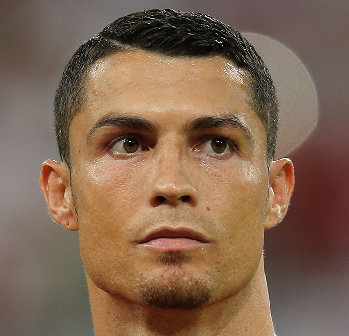 The closeup of the soccer legend and new Juventus player - Cristiano Ronaldo - CR7.