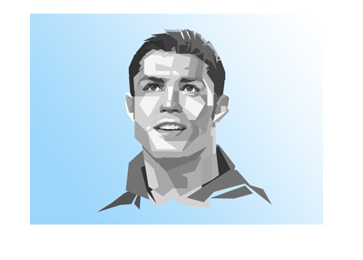 The Real Madrid superstar - Ronaldo Cristiano - Angular shapes illustration - Blue background.