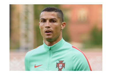 Cristiano Ronaldo wearing the Portugal training jersey.  Year is 2017.