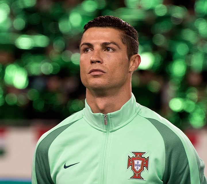 Cristiano Ronaldo photographed during the World Cup qualification match.  Road to Russia.
