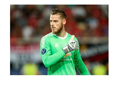 Manchester United goalkeeper, David de Gea. Thumb up. 2017-18 season.