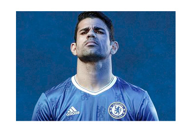 Diego Costa models the 2016/17 Chelsea FC jersey.  Adidas ad.