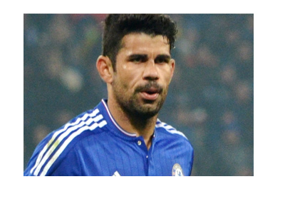 Diego Costa of Chelsea FC in full focuse.  The title game is very much on.  Year is 2017.