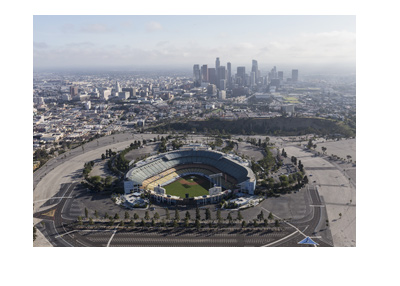 The LA Dodgers Stadium - Birds eye view perspective - Year 2017.  Los Angeles in the background.