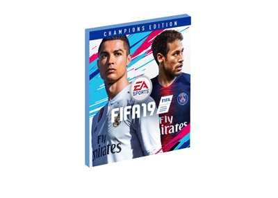 Electronic Arts - FIFA 19 - Video game cover featuring Cristiano Ronaldo and Junior Neymar.