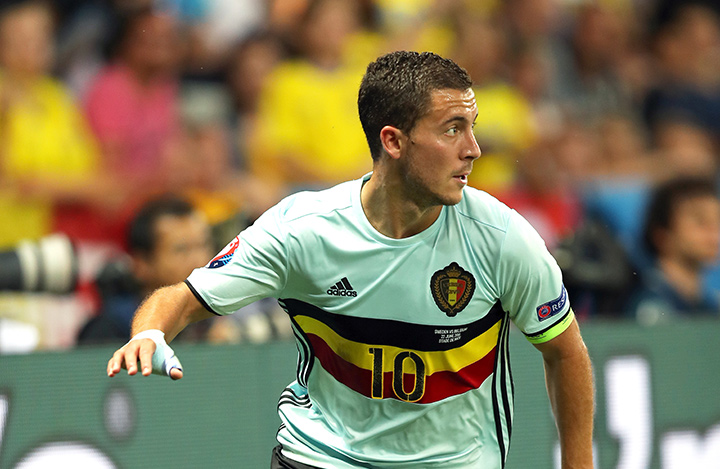 Arguably the best player on the Belgium team - Eden Hazard - in action for his country.