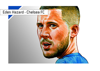 Eden Hazard - Chelsea FC star - Focused look - Illustration.