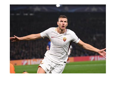 AS Roma striker and Bosnia Herzegovina international, Edin Dzeko, celebrating a goal.  The year is 2017.