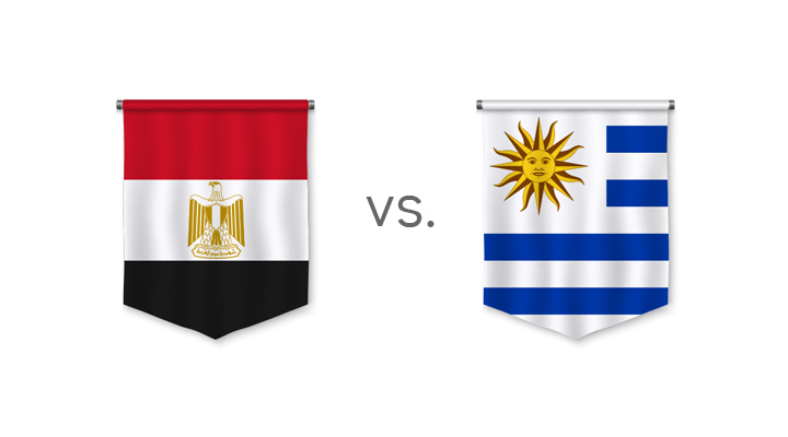 World Cup betting odds - Egypt vs. Uruguay - Nation flags and odds to win - Preview.