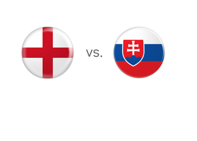 England vs. Slovakia - Matchup - Nation flags encircled.