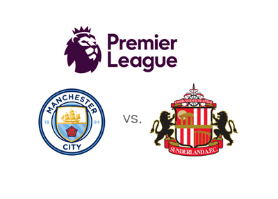 The English Premier League matchup between Manchester City and Sunderland - League logo 2016/17 and team crests