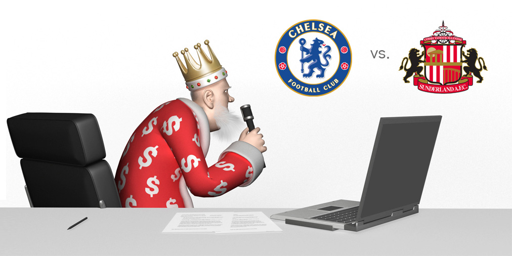 The King presents the English Premier League matchup between Chelsea and Sunderland. Live from the Kings Sports studio.