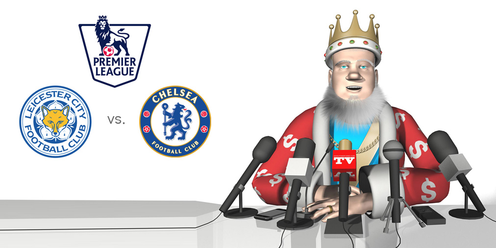 The King is at a news conference talking about the upcoming matchup between Leicester City and Chelsea.  Among things being discussed are the odds for the English Premier League Monday night match