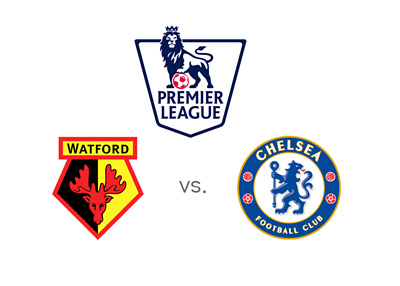 English Premier League match between Watford and Chelsea - League logo and team crests