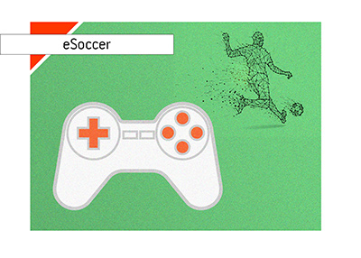 eSoccer is on the rise.  Playstation is the platform.  Illustration.