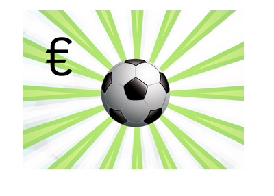European football revenues - Illustration - Ball and funky background.  Euro sign.