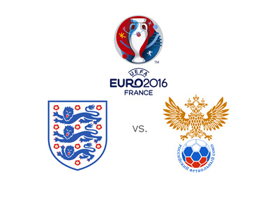 Matchup between England and Russia in the group stage of the Euro 2016 tournament in France - Odds and favourites - Team badges - Tournament logo