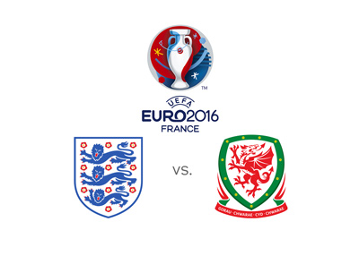 Euro 2016 matchup between England and Wales - Team logos and winning odds