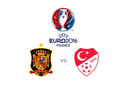 The UEFA EURO 2016 tournament - Spain vs. Turkey - Group stage - Logo and crests.