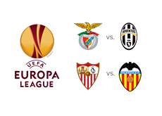 The Europa League semi-finals - Benfica vs. Juventus and Sevilla vs. Valencia - Tournament logo and team crests