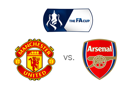 Football Association Cup (FA Cup) Matchup - Manchester United vs. Arsenal - Tournament and team logos - Head to Head - Odds - Old Trafford - Monday, March 9th, 2015