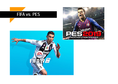 Sales numbers for FIFA 18/19 and PES 2018.  The gap between the two is widening. Game covers.