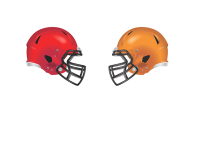 Football matchup represented by helmets - Red vs. Orange. Crimson Tide vs. Tigers.