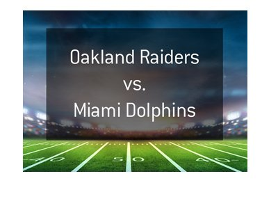 American football matchup - Oakland Raiders vs. Miami Dolphins.  Stadium under the spotlights.