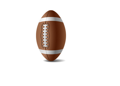 A 3d illustration of a football standing upright in front of a white background.  Light from above.