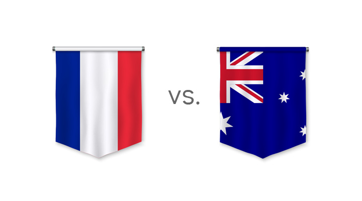 France vs. Australia - 2018 World Cup match - Nation flags.
