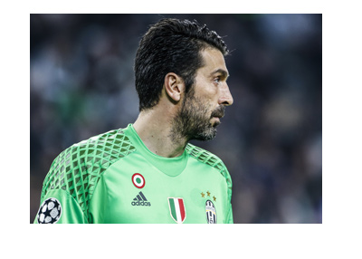 Juventus and Italy numero uno - Gianluigi Buffon - Pictured here in action observing the field.