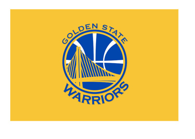 The Golden State Warriors basketball team logo on yellow background