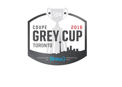 The 2016 Grey Cup - Canadian Football League - Toronto - Logo / branding.