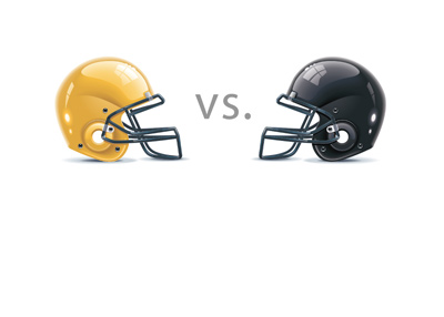 Football Helmets - Greenbay Packers are playing Houston Falcons.