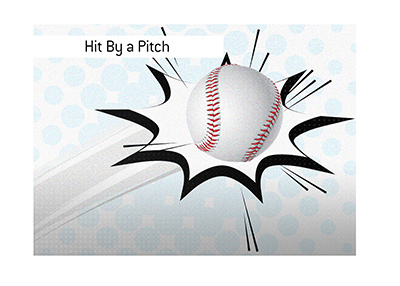 Hit by a pitch - Illustration - Beaning in baseball - Ouch.