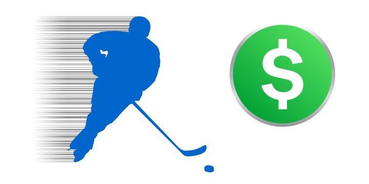 Illustration of a hockey player chasing the puck with a dollar sign in the foreground.  Hockey Betting is the theme.