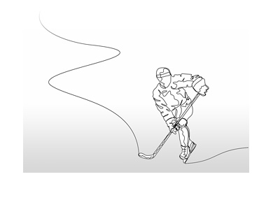 A silhouette of a hockey player chasing the puck.  One line drawing.