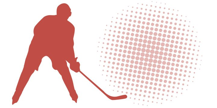 Silhouette of a hockey player with a computerized red background.  How to properly bet on hockey.