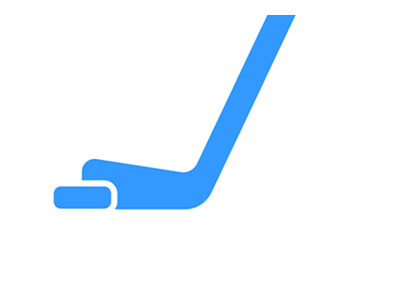Hockey stick - Simple digital drawing - Light blue.