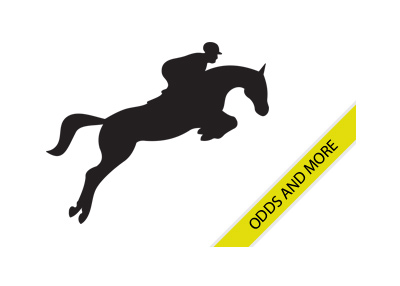 Horse Racing - Silhouette of a jockey on his race horse jumping - Odds and more - Promo graphic.