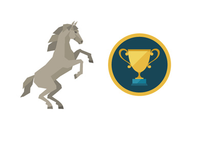 Generic horse racing logo - Rising stallion next to a trophy - Drawing / illustration / concept.