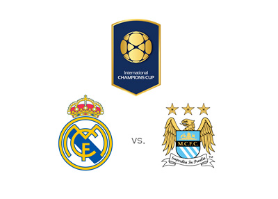 The International Champions Cup 2015 - Matchup - Real Madrid vs. Manchester City - Team logos / crests - Winning Odds