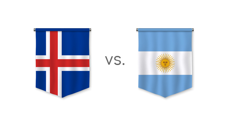 Football matchup - Iceland vs. Argentina - Who is the favourite to win? - Nation flags.